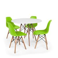 Kit Mesa Jantar Eiffel 80cm Branca + 04 Cadeiras Charles Eames - Verde
