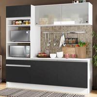 Cozinha Compacta Madesa Topazio com Balcão e Tampo Branco/Preto Cor:Branco/Preto