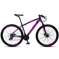 Bicicleta Aro 29 Spaceline Vega 21v Suspensão E Freio Disco - Preto/rosa - 19´´ - 19´´