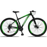 Bicicleta Aro 29 Dropp Aluminum 21v Suspensão, Freio A Disco - Preto/verde E Branco - 17