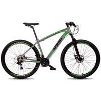 Bicicleta Aro 29 Gt Sprint Volcon 21v Suspensão, Freio Disco - Cinza/verde E Preto - 21''