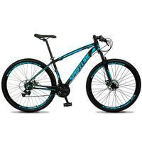 Bicicleta Aro 29 Spaceline Vega 21v Shimano E Freio A Disco - Preto/azul - 17''