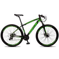 Bicicleta Aro 29 Spaceline Vega 21v Shimano E Freio A Disco - Preto/verde - 15''