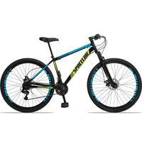 Bicicleta Aro 29 Spaceline Moon 21v Suspensão E Freio Disco - Preto/azul E Amarelo - 17´´ - 17´´