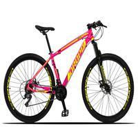 Bicicleta Aro 29 Dropp Z3x 21v Suspensão E Freio Disco - Rosa/amarelo - 21´´ - 21´´