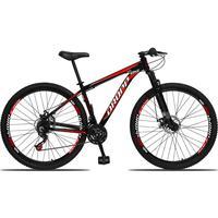 Bicicleta Aro 29 Dropp Aluminum 21v Suspensão, Freio A Disco - Preto/vermelho E Branco - 21
