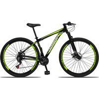 Bicicleta Aro 29 Dropp Aluminum 21v Suspensão, Freio A Disco - Preto/amarelo E Branco - 19