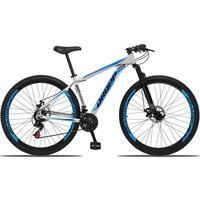Bicicleta Aro 29 Dropp Aluminum 21v Suspensão, Freio A Disco - Branco/azul E Preto - 17