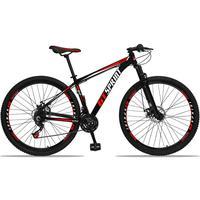 Bicicleta Aro 29 Gt Sprint Mx1 21v Suspensão E Freio A Disco - Preto/vermelho E Branco - 15''