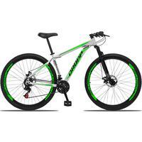 Bicicleta Aro 29 Dropp Aluminum 21v Suspensão, Freio A Disco - Branco/verde E Preto - 17