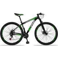 Bicicleta Aro 29 Gt Sprint Mx1 21v Suspensão E Freio A Disco - Preto/verde E Branco - 17''