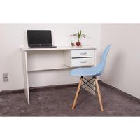 Kit Escrivaninha Com Gaveteiro Branca + 01 Cadeira Charles Eames - Azul Claro