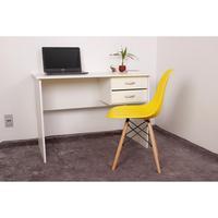 Kit Escrivaninha Com Gaveteiro Branca + 01 Cadeira Charles Eames - Amarela