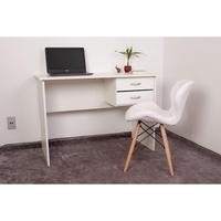 Kit Escrivaninha Com Gaveteiro Branca + 01 Cadeira Eiffel Slim - Branca