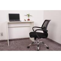 Kit Escrivaninha 90cm Branca + 01 Cadeira Secretária Plus - Preta