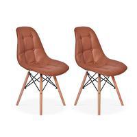 Conjunto 2 Cadeiras Dkr Charles Eames Wood Estofada Botonê - Marrom