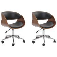 Kit 02 Cadeiras Escritório Office Oga Base Giratória Cromada Pu Sintético Preta - Gran Belo
