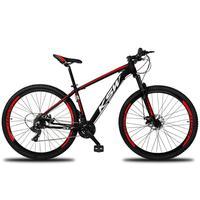 Bicicleta Aro 29 Ksw 21 Marchas Freios A Disco, K7 E Suspensão Cor:preto/vermelho E Branco tamanho Do Quadro: 17pol - 17pol