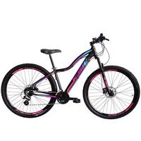 """Bicicleta Aro 29 Ksw 24 Marchas Freios A Disco E Trava Cor: Preto/rosa E Azul, Tamanho Do Quadro:15"""" - 15"""""""