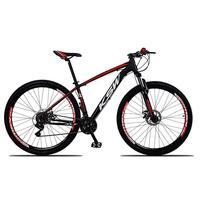 Bicicleta Aro 29 Ksw 24 Marchas Freios Hidraulico E K7 Cor: preto/vermelho E Branco tamanho Do Quadro:19  - 19