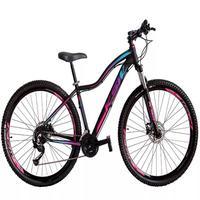 Bicicleta Aro 29 Ksw 24 Vel Shimano Freios Disco E Trava/k7 Cor: preto/rosa E Azul tamanho Do Quadro:15  - 15