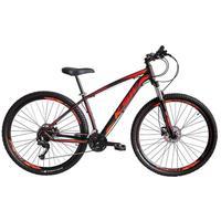 """Bicicleta Aro 29 Ksw 21 Marchas Freios A Disco E Suspensão Cor: Preto/Laranja E Vermelho, Tamanho Do Quadro:17"""" - 17"""""""