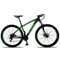 Bicicleta Aro 29 Ksw 21 Marchas Freios A Disco C/trava E K7 Cor:preto/verde tamanho Do Quadro: 15pol - 15pol