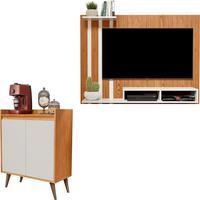 Kit Painel P Tv 48 Polegadas Dubai Nature/off Com Aparador Buffet Retrô 2 Portas Barthô Nature/off