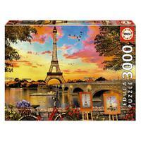 Puzzle 3000 Peças Pôr Do Sol Em Paris - Educa - Importado