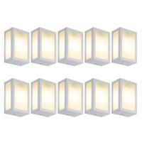 Luminária De Parede Retangular Branco Kit Com 10