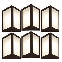 Luminária De Parede Triangular Marrom Kit Com 6
