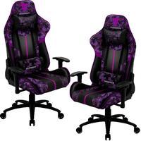 Kit 02 Cadeiras Gamer Office Giratória Elevação A Gás Bc3 Camuflado Roxo Ultra Violet - Thunderx3